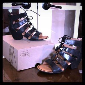 "BOC ""Helma"" Black Leather Short Heeled Sandals"